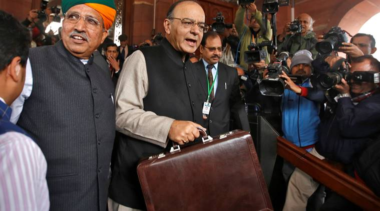 India's Finance Minister Arun Jaitley (C) arrives at the parliament where he is due to present the federal budget, in New Delhi, India, February 1, 2017. REUTERS/Adnan Abidi