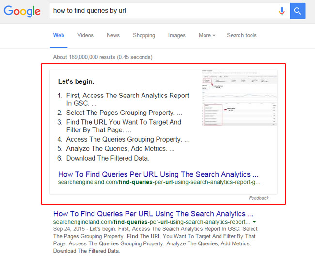 Featured Snippet format