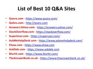 question and answer sites